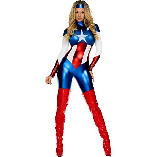 Kostüm Superfrau - QWEASZER Adult Movie Cosplay Kleidung Superfrau Superheld Skinny Overall Halloween Kostüm Spiel Party Superman Sexy Versuchung Uniform,Blue-OneSize