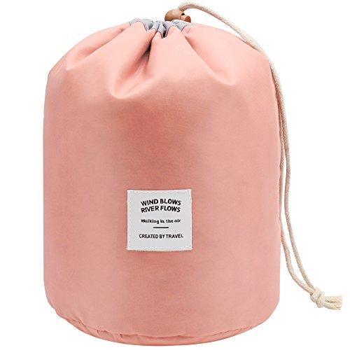 Mmlove beauty case da viaggio portatile multifunzionale con coulisse pouch storage borsa trucco cosmetici organizzatore toiletry borsa da viaggio (rosa)