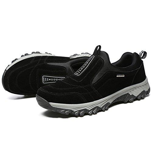GOMNEAR Chaussures de Marche Pour Hommes Chaussures de Randonnée en Plein Air avec Suede & Mesh Semelle en Caoutchouc Noir