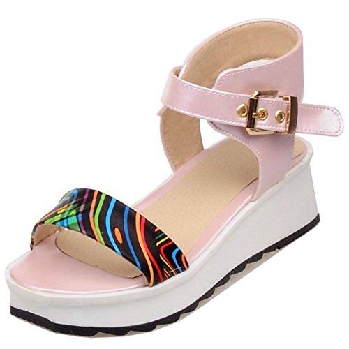 TAOFFEN Damen Beilaufig Plateau Fesselriemen Slingback Schnalle Keilabsatzs Sandalen Pink