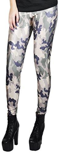 erdbeerloft - Damen Mädchen Leggins Muster Print Camouflage, One Size S-M-L, Mehrfarbig (Science Fiction Kostüm Muster)