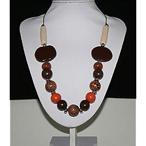 Braun Dunkelbraun Beige Orange Silber Halskette Polymer Clay Perlen