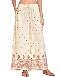 Rapsodia Women's Rayon Printed Regular Fit Palazzo (Off-White)