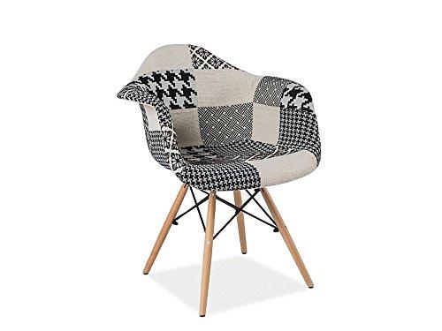 Chaise scandinave DAW Patchwork Eames DONI noir et blanc pieds bois
