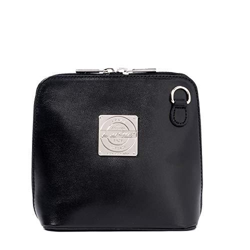Ira del Valle, Handtasche für Damen/Junge Frauen, Elegante, modische Pochette mit Kette, Kleine Handtasche, Clutch aus Echtleder, Modell Oxford City Bag, Made in Italy (Schwarz A)