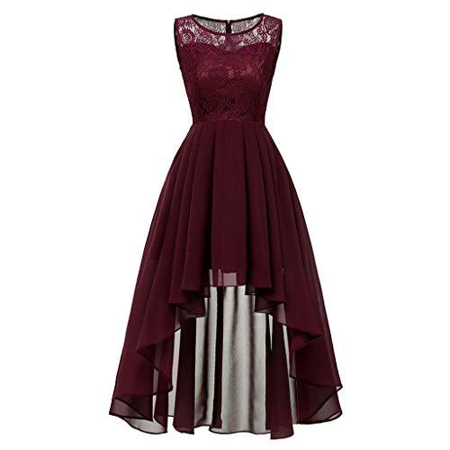 MAYOGO Vintage Elegant Kleid aus Spitze Damen Unregelmässig Vokuhila Kleid Vorne Kurz Hinten Lang,Kleid zur Hochzeit Gast/Brautjungfer,Langarm | Kurzarm | Ohne ärmel