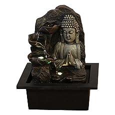 Zen'Light SPIRITUALITE – Fuente de polirresina de Color marrón Oscuro, 21x 21x 26cm.