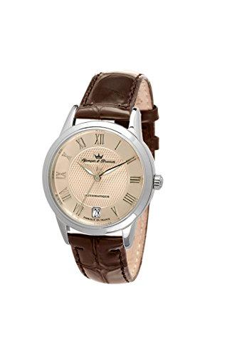 Yonger & Bresson - YBD 8517-55 - La Boissière - Montre Femme - Automatique Analogique - Cadran Doré - Bracelet Cuir Marron