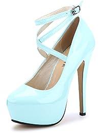 Para Azul Zapatos es Amazon Mujer Y Tacón De Xx7nxO4W