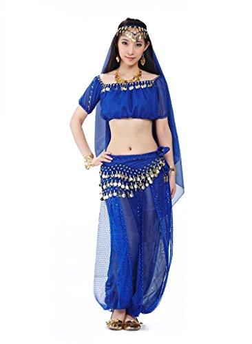 Bmeigo Bauchtanz indischen Tanzkleidung Kostüme Head Chain Head Veil Top Hose Waist (Bollywood Tanz Kostüme Indische)