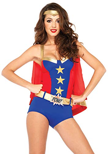 Comic Book Kostüm Girl Halloween - LEG AVENUE 85224 - Comic Book Girl Kostüm Set, 3-teilig, Größe S, blau/rot