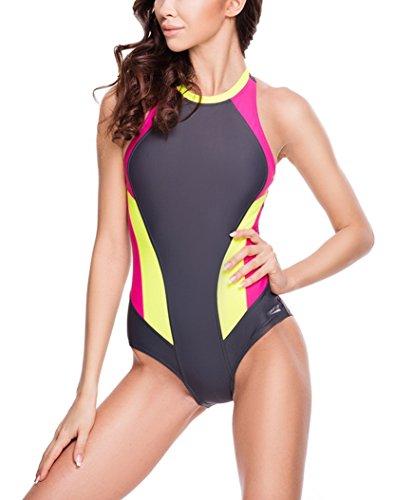 Aqua Speed 5908217664075 Nina - Bañador para Mujer, Talla 40, Color Gris/Rosa Oscuro/Verde Lima