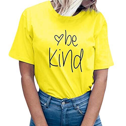 SEWORLD Oberteil Bluse Damen Bauchfreier Kleid Freizeit Lose Sommerkleid Frauen Lose Kostüme Kleid Kurzärmliges T-Shirt mit Buchstaben Drucken Tops Tee Tank Shirt Bluse(X-a-gelb,EU-38/CN-L)