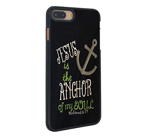 Boslive Schutzhülle für iPhone 8 Plus, Motiv: Bibelvers 6:19, Jesus is The Anchor of My Soul, schwarzer Hintergrund, Hartplastik, Kratzfest, kompatibel mit iPhone 8 Plus 14 cm (5,5 Zoll)