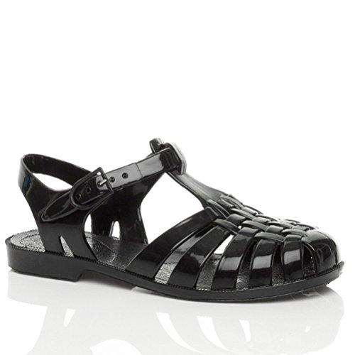 Damen Flache Gummi Sandalen Mit Schnalle Retro 90er Flip Flops Schuhe Grösse Schwarz