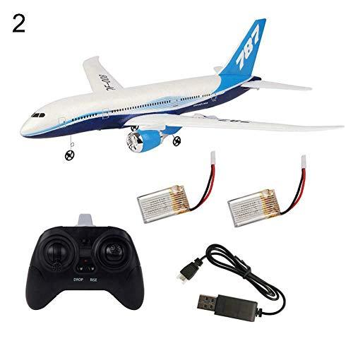 0Miaxudh DIY Flugzeug Spielzeug, DIY EPP Fernbedienung Flugzeug RC Drone Boeing 787 Fixed Wing Flugzeug Kit Spielzeug Dual Battery