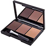 zeruangewei 3 Colors Long Lasting Eyebrow Powder Shadow Palette with Soft Brush and Mirror