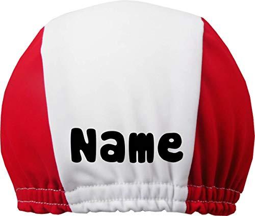DRUCKEICH Zweifarbige Badekappe für Kinder und Erwachsene mit Ihrem Wunschtext oder Name/Fb. Rot-Weiss/Gr. 2 (ab 7 ahre)