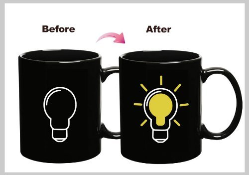 Cozyswan® Alat calidad de calor de cambio de color de taza de café, muy magia , cerámica, negro