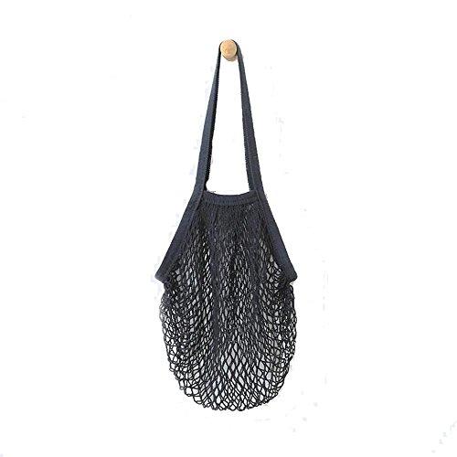 rameng Shopping Mesh Beutel Baumwolle Wiederverwendbar Tasche fruits- 38CMX 48.2cm schwarz (Die Organisation Net)