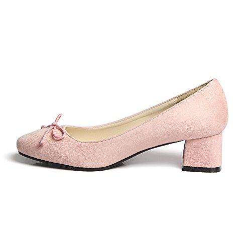Damens Pumps Geschlossene Toe Blockabsatz Fellsamt Rutsch mit Schleife Pink