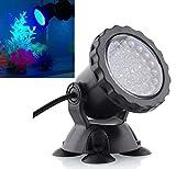 XDLUK Impermeabile 36 LED Faretto Sommerso Paesaggio Lampada per Acquario Pesci Cisterna, Giardino Fontana, Stagno Piscina (Nero)