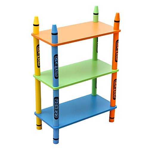 Bebe Style Childrens Wooden Crayon Themed 3 Tiered Shelves