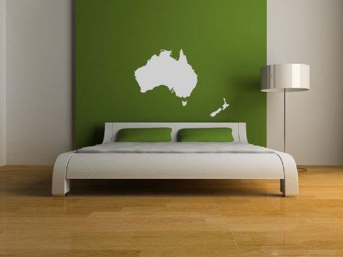 Premium Wandtattoo Wandaufkleber Australien + Neuseeland Karte 100cm x 72cm Motiv: #310 weiß