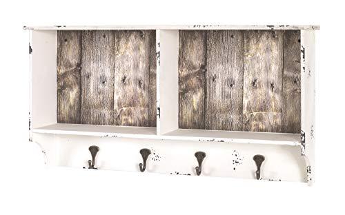 Haku Wandgarderobe in weiß-gewischt Vintage mit 2 Ablagefächern und Vier Garderobenhaken