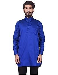 Veera Paridhaan Men's Party Wear Cotton Blue Solid Pattern Kurta