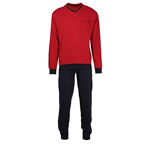Götzburg Herren Pyjama, Schlafanzug, Oberteil und Hose - Langarm, Baumwolle, Single Jersey, rot, Bedruckt, mit Bündchen 72