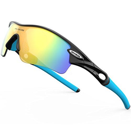 RIVBOS Polarisiert Sportbrille Outdoor Radfahren Sonnenbrille Radbrille mit 5 wechselbare Linsen Multifunktions-Sportbrille RBS805 Schwarz&Blau