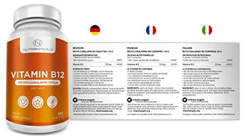 41QUqdYsktL - Vitamina B12 Metilcobalamina 1000mcg 365 Tabletas (Suministro para 12 Meses) | Reducción del cansancio y la fatiga y normalización de la función del sistema inmunológico