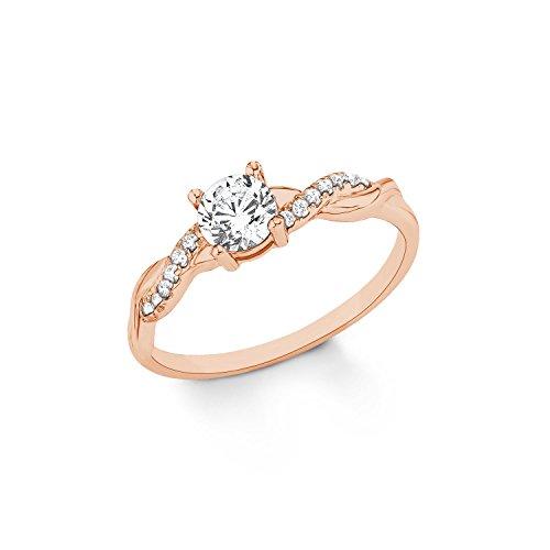 s.Oliver Damen Ring Verlobungsring 925 Sterling Silber rosévergoldet Zirkonia weiß