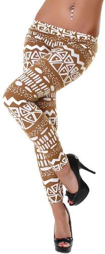 P.F. Leggings lang mit Muster, lattemaccicato weiß Muster Größe 32 34 36 (Baumwolle-sport-stretch-höschen)