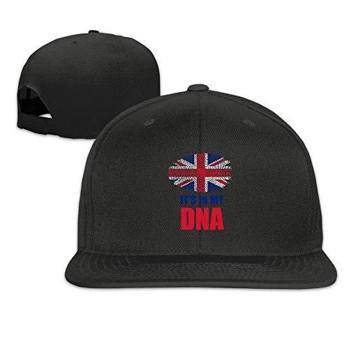 Voxpkrs Britisch Es ist in meiner DNA Britische Flagge Flat Bill Brim Einstellbar Outdr Dance Hats Caps Baseball Cap für Männer und Frauen U8I0013119