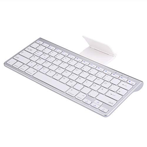 FLOUREON Kabellose QWERTZ Tastatur Wireless Keyboard Bluetooth Deutsches Tastaturlayout für Laptop PC Tablet Weiß