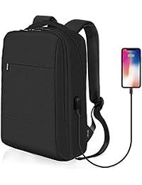 Reyleo RB07 - Mochila para hombre y mujer para ordenador portátil, mochila para viajes de negocios y escuelas, impermeable, 18 litros, color negro