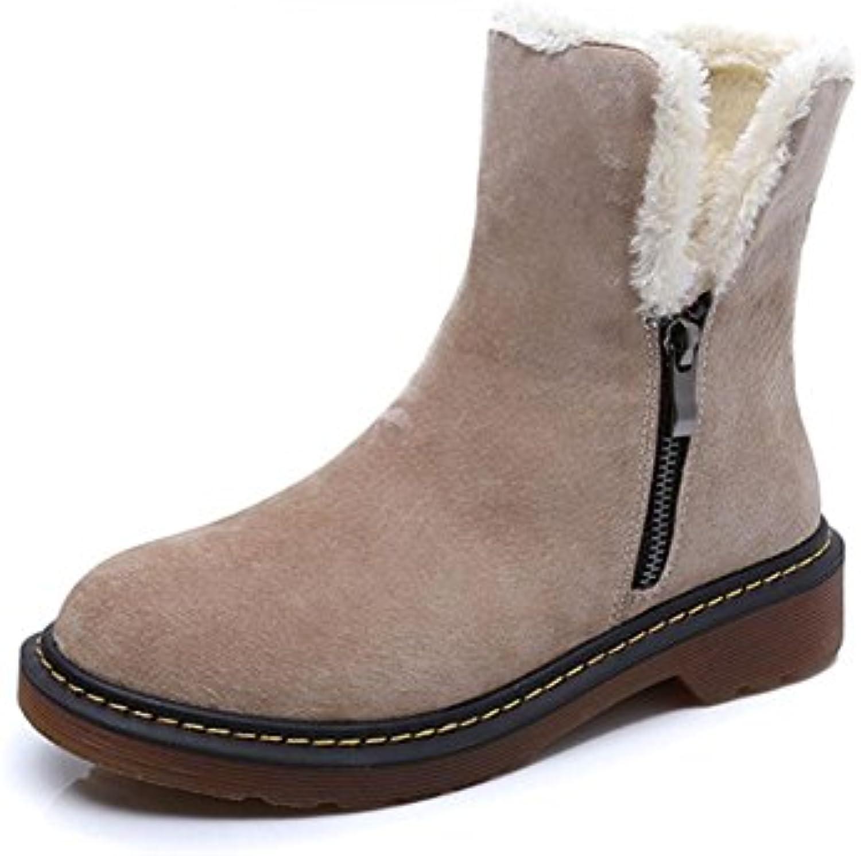 KUKI Zapatos de mujer, botas de mujer, botas Martin, además de algodón, botas, tubo, botas de nieve, engrosamiento...