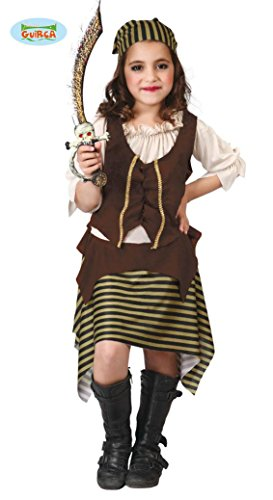 KINDERKOSTÜM - PIRATIN - Größe 110-115 cm ( 5-6 Jahre ), Karibik Seeräuber Seeräuberin Piratenkapitänin Verfilmung Fantasie Anführer (Anführer Mädchen Kostüm)