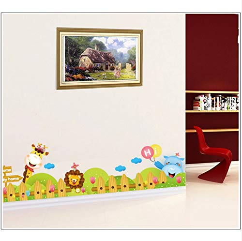 (Xzfddn Cartoon Zoo Wall Decal Aufkleber Kinderzimmer Kinderzimmer Wand Grenze Kunst Wandbild Poster Ecke Der Wand Dekoration Wallpaper Applique)