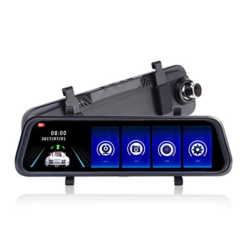 Cámara de 1080p Dash, DVR Dash de doble cámara, grabadora de video en bucle de 10 pulgadas Reproductor de video Stream Retro Espejo retrovisor, con visión nocturna, doble registro, inversión de imagen
