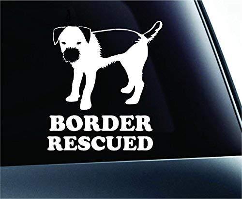 Border Terrier Resued Dog Symbol Decal Paw Print Dog Puppy Pet Family Breed Love Car Truck Sticker Window (White), Decal Sticker Vinyl Car Home Truck Window Laptop -