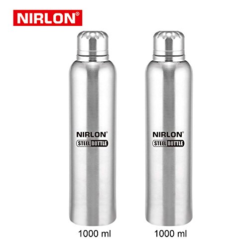 STAINLESS STEEL COOLING FREEZER BOTTLE SET OF 2, 1000ml, SILVER BY NIRLON