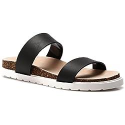 Schuhzoo - Damen Plateau Blockabsatz Profilsohle Sandalen Sommer Frauen Schuhe schwarz weiß türkis beige Größe 36-41-Schwarz-37