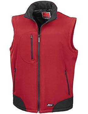 Resultado R123A chaleco softshell para hombre, Liso, Unisex, color rojo/negro, tamaño 2 X-grande