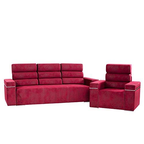 Mirjan24  Polstergarnitur Everest, Sofa mit Bettkasten und Schlaffunktion + Sessel, 3 Sitzer Couch, Polstersessel, Schaumstoff HR, Wohnlandschaft (Everest 2651)