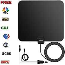Globmall Interna Antenna TV, 80 KM Gamma Antenna per Digitale TV con Staccabile Amplificatore Ripetitore del Segnale, Supportto 1080P Digital TV Broadcast