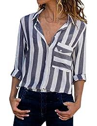 Beautyjourney Chemisier A Carreaux Femme Gilet Manche Longue Femme Top Noir  Femme Chic Poche RayéE Casual 90c7de0db314