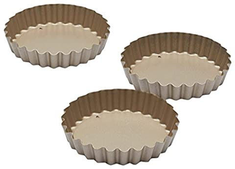 Paul Hollywood by KitchenCraft Non-Stick Round Fluted Mini Tart Tins, 10 cm - Set of 4